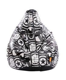 Orka Dark Avengers Digital Printed Bean Bag XL Cover - Black White