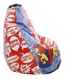 Orka Spiderman Digital Printed Bean Bag XL Filled with Beans - Red Blue