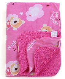 Abracadabra Reversible Luxury Blanket Bear Print - Pink