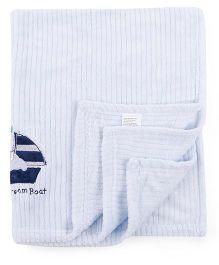 Abracadabra Luxury Blanket Boat Embroidery - Blue White