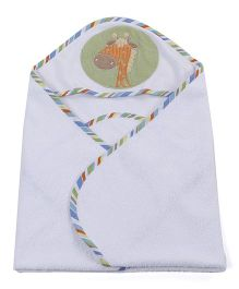 Abracadabra Giraffe Print Hooded Towel With 2 Face Towels - Orange White