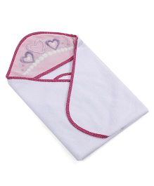 Abracadabra Hearts Design Hooded Towel With 2 Face Towels - White