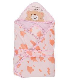 Sleeping Bag Bear Patch - Pink And Orange