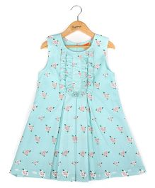 Hugsntugs Flower Printed Dress - Blue