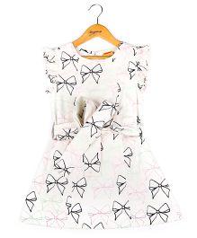 Hugsntugs Bow Print Dress - White