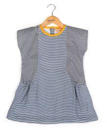 Hugsntugs Stripe Print Dress - Blue & White