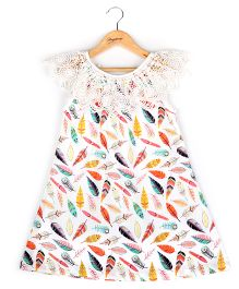 Hugsntugs Feather Print Dress With Laced Neck - Multicolor
