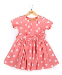 Hugsntugs Dress With Polka Dots - Peach