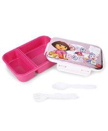 Jewel Smart Lock Dora Print Lunch Box Big - Pink White