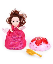 Cupcake Surprise Doll With Hairbrush - Red Pink