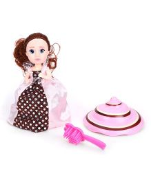Cupcake Surprise Doll With Hairbrush - Brown Pink