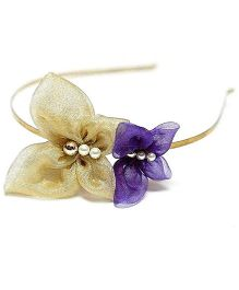 Bling & Bows Aria Butterfly Hair Band - Golden & Purple