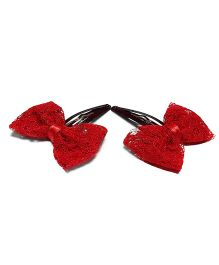 Bling & Bows Bella Lace Hair Clips - Red