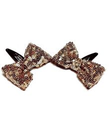 Bling & Bows Nora Sequence Bow Hair Clips - Golden