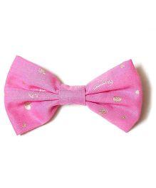 Bling & Bows Alexa Gold Hearts And Tiara Print Hair Clip - Pink