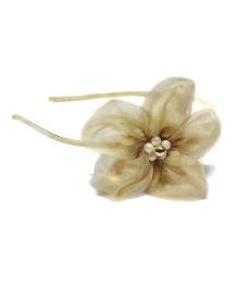 Bling & Bows Big Organza Flower Adorned With Beads Hair Band - Golden