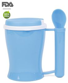 Baby Feeding Cup With Spoon In Handle Blue - 350 ml