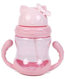Twin Handle Sipper Cup With Straw Kitty Design - Pink