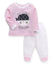 Ollypop Full Sleeves Top And Leggings Set Rockstar Print - Pink White
