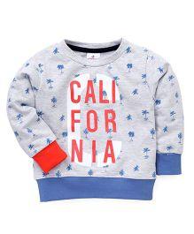 Ollypop Full Sleeves Sweatshirt California Print - Light Grey Blue