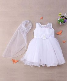 M'Princess Lacy Party Dress With Hair Band - White