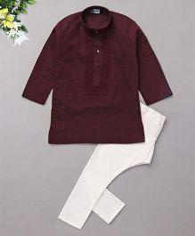 Babyhug Full Sleeves Embroidered Kurta And Pyjama Set - Deep Maroon