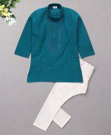 Babyhug Full Sleeves Embroidered Kurta And Pyjama Set - Green