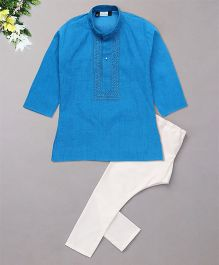 Babyhug Full Sleeves Embroidered Kurta And Pajama Set - Blue