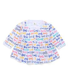 Cucumber Long Sleeves Bow Printed Frock - White & Blue