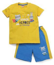 Babyhug Half Sleeves T-Shirt & Shorts Set Super Heroes Print - Yellow Blue