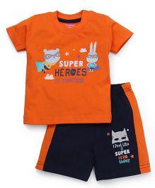 Babyhug Half Sleeves T-Shirt & Shorts Set Super Heroes Print - Orange Navy Blue