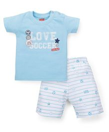 Babyhug Half Sleeves T-Shirt And Shorts Set Love Soccer Print - Aqua Blue