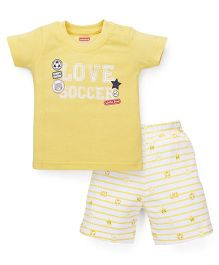 Babyhug Half Sleeves T-Shirt And Shorts Set Love Soccer Print - Lemon Yellow