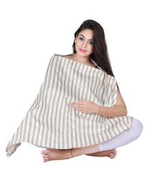 Lulamom Nursing Cover with Pocket Stripes Print - Grey And White