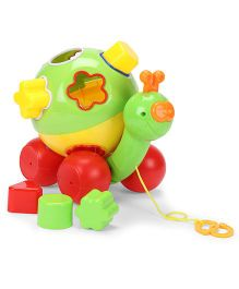 Pull Along With Shape Shorter Snail - Green Red