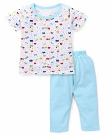 Babyhug Half Sleeves Night Suit Train Print - White & Sky Blue