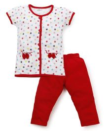 Babyhug Half Sleeves Dotted Top And Solid Color Pajama Night Suit - White And Red