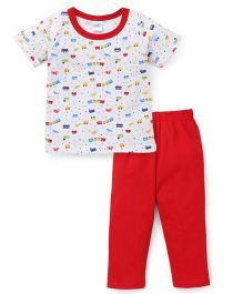 Babyhug Half Sleeves Night Suit Train Print - White & Red