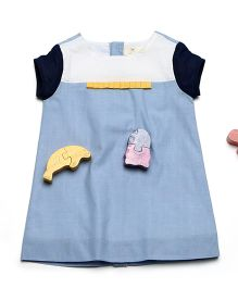 MilkTeeth Half-Sleeves Cotton Dress - Light Blue