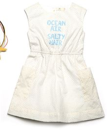 MilkTeeth Sleeveless Ocean Air Print Dress - Off White