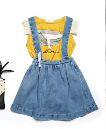 MilkTeeth Whale Suspender Skirt - Blue