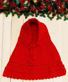 D'chica Sweet Hooded Woollen Poncho - Red