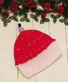D'chica Sweet Woollen Cap With Bow  - Grey & Pink