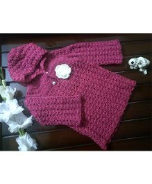 The Original Knit Flower Applique Dress - Pink
