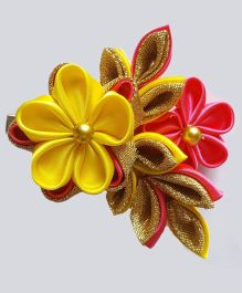 Reyas Accessories Quirky Kanzashi Hair Clip - Yellow & Pink