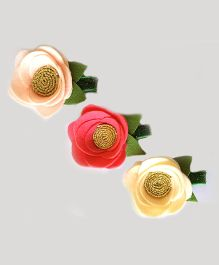 Reyas Accessories Triple Roses Alligator Hair Clips - Multicolour