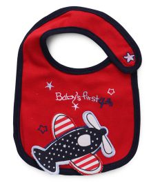 Mee Mee Red Baby Weaning Bib Plane Embroidery - Red