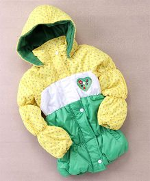 Peridot Full Sleeves Hooded Jacket Heart Patch - Green Yellow