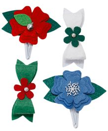 D'chica Bows & Flowers Set Of 4 Clips For Girls - Multicolor