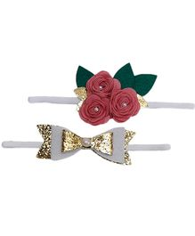 D'chica Set Of 2 Roses & Bow Headbands - Pink & Golden